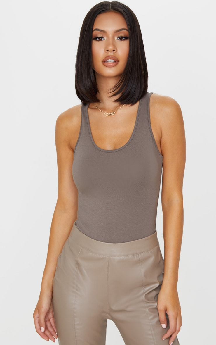 Mocha Cotton Scoop Neck Sleeveless Bodysuit 1