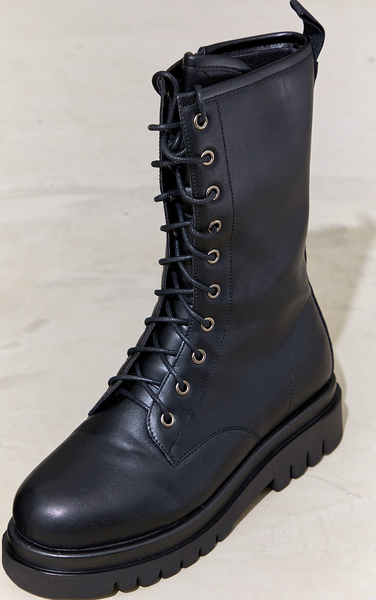 Black PU Lace Up Calf Chunky Boots 4