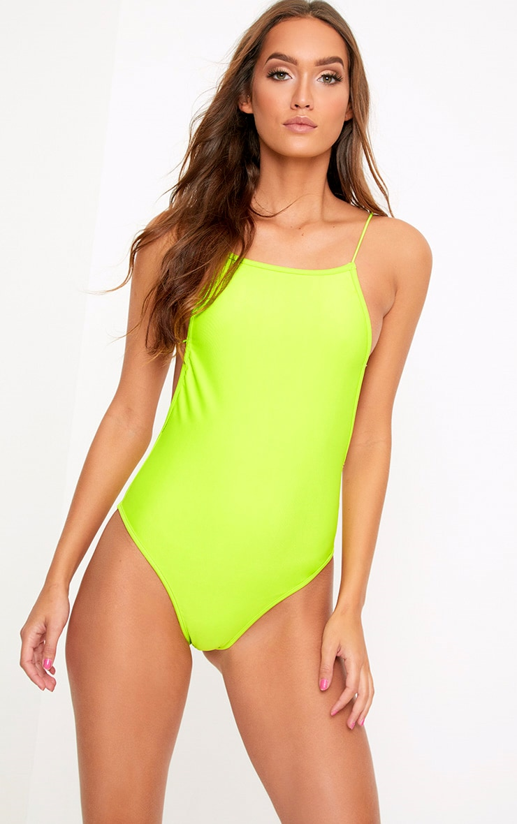 16ef7b589f1 Green 90's Neck Strap Detail Swimsuit