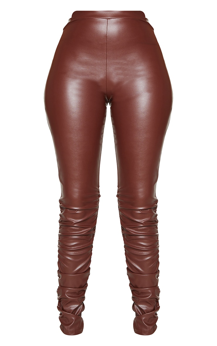 Brown Faux Leather Ruched Leg Skinny Trousers 5