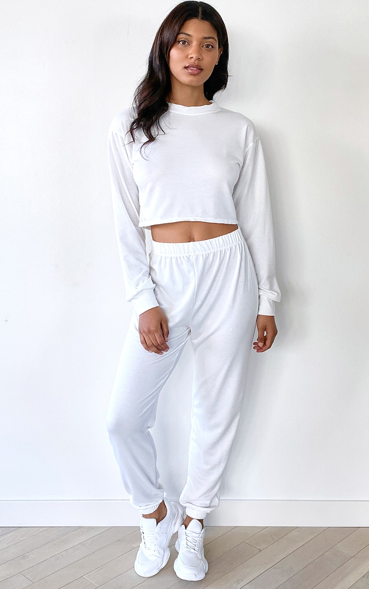 Tall White Cropped Sweat and Jogger Set 1