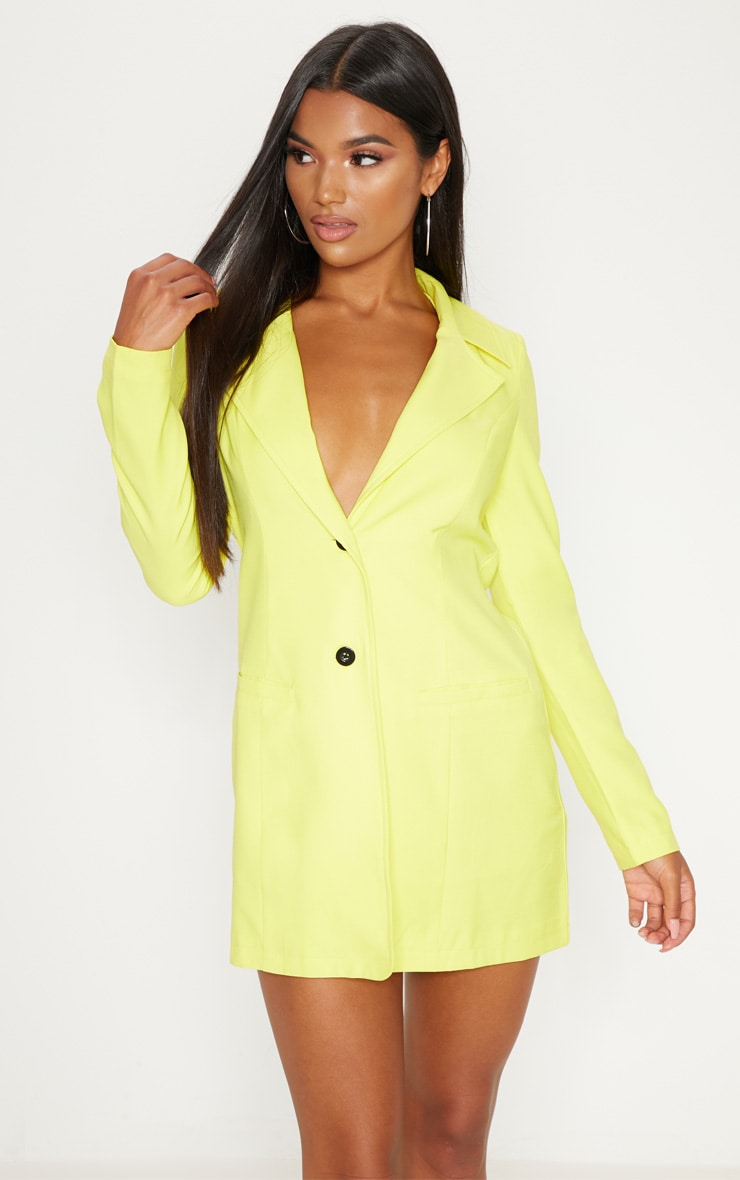 Yellow Plunge Contrast Button Button Blazer Dress