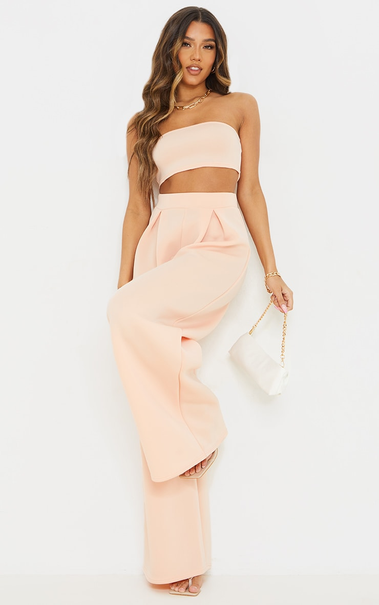 Nude Bonded Scuba Pleated Extreme Wide Leg Trousers image 1