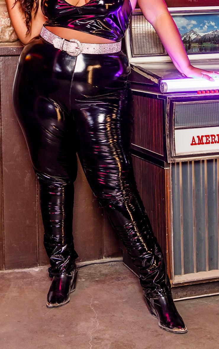 Plus Black Vinyl High Waisted Leggings 2