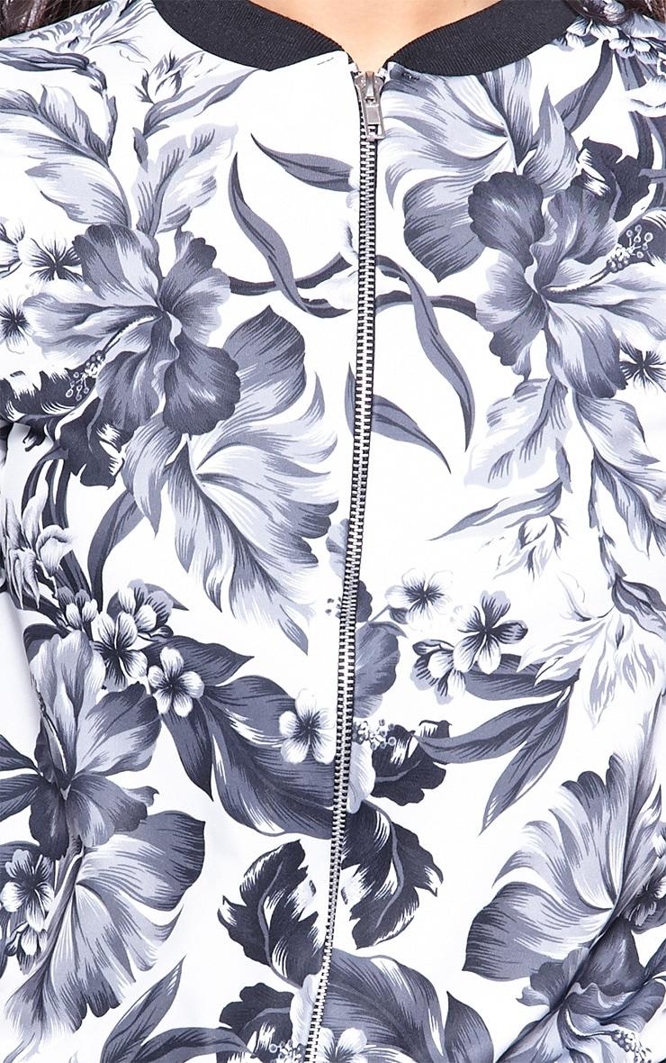 Leota Monochrome Floral Bomber Jacket 5