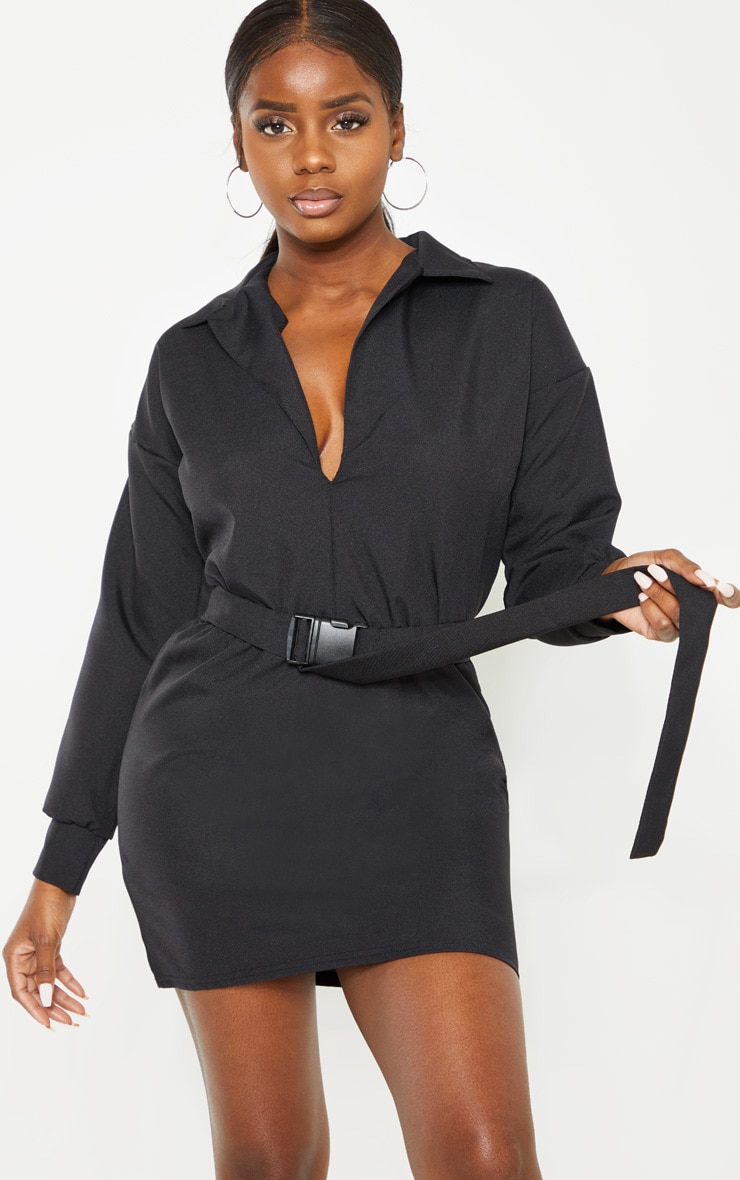 Petite Black Belt Detail Cargo Shirt Dress 3