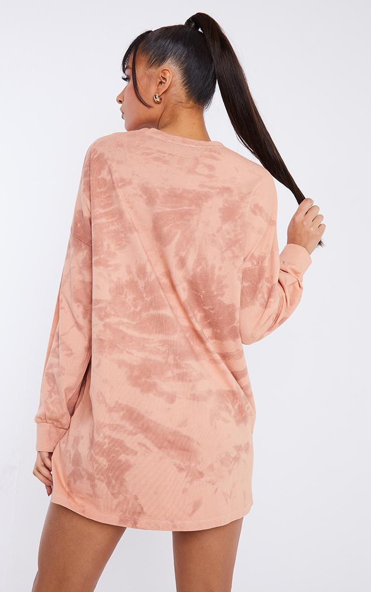Terracotta Long Sleeve Tie Dye T Shirt Dress 2