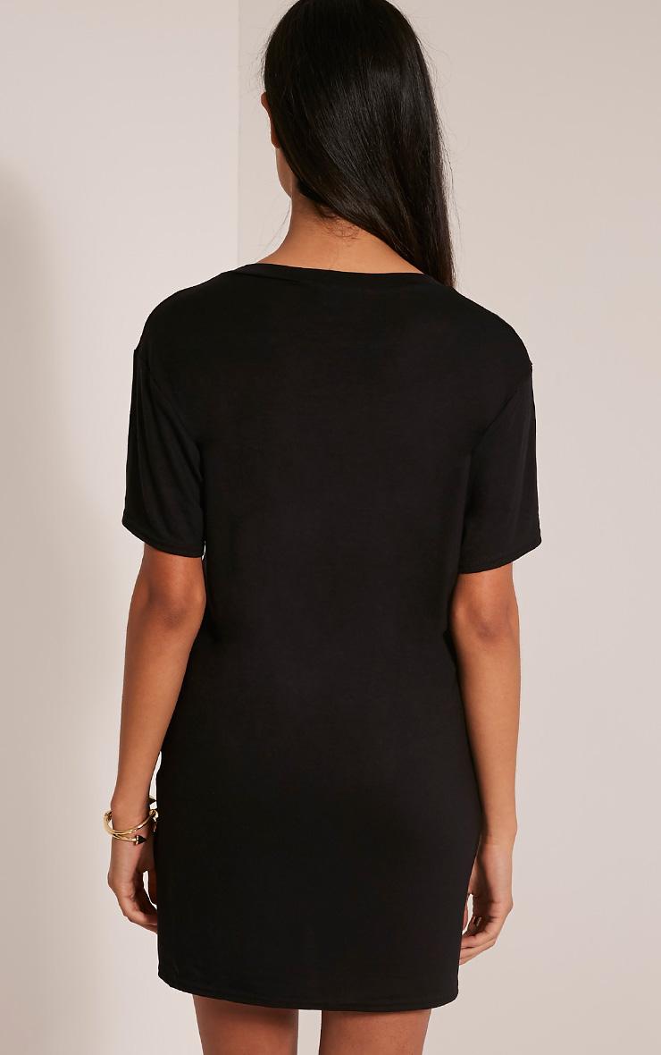 Slay Slogan Black T Shirt Dress 2