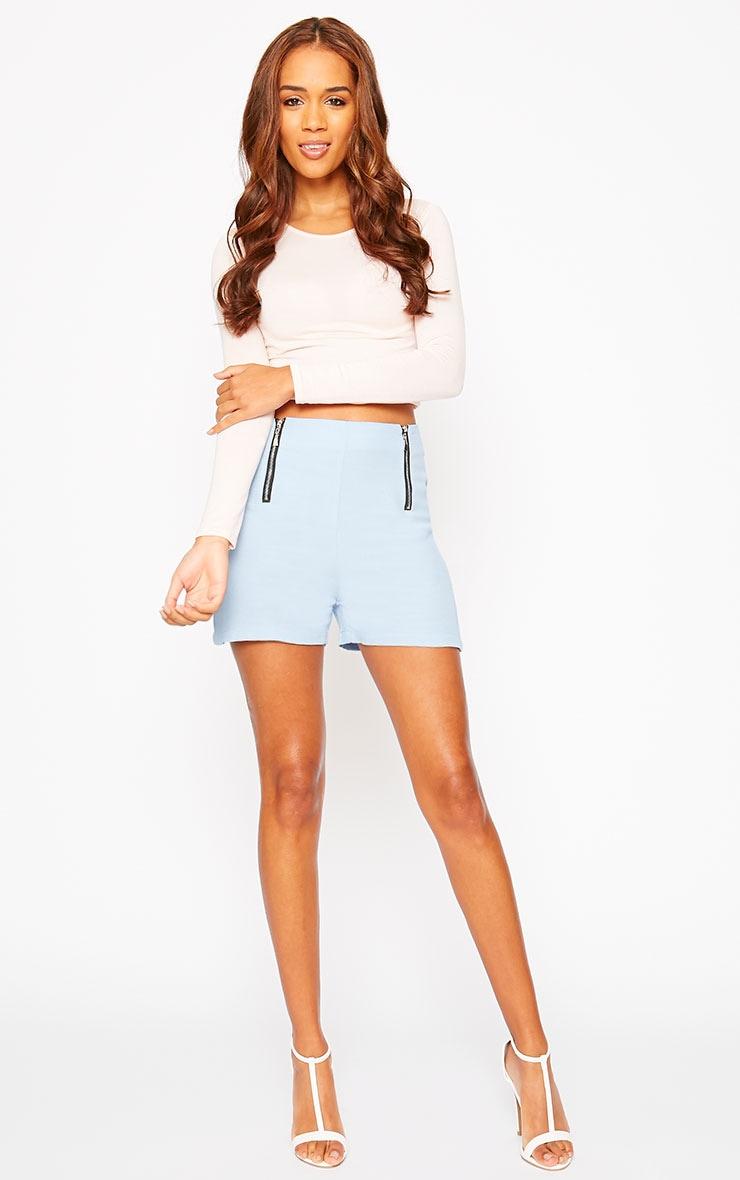 Mikkel Blue Zip Front Shorts 3