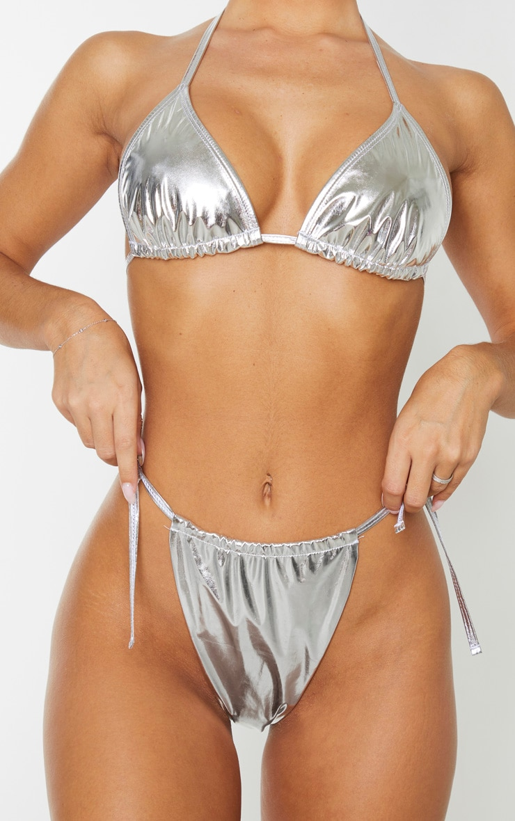 Silver Vinyl Adjustable Tie Side Bikini Bottom 6
