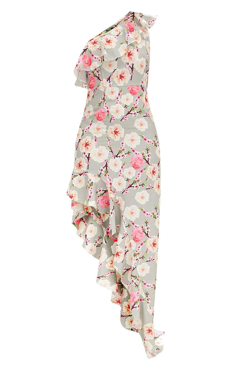 Ice Grey Printed One Shoulder Asymmetric Ruffle Hem Maxi Dress 3