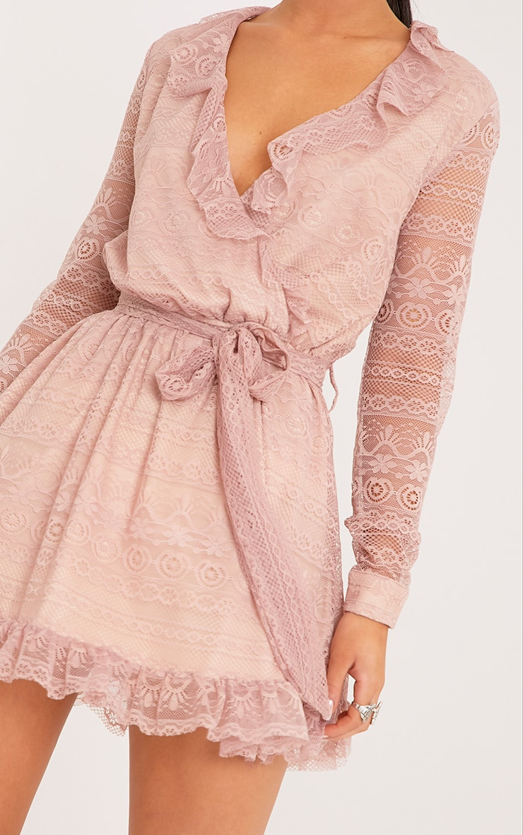 Kamini Dusty Pink Lace Frill Wrap Over Shift Dress  5