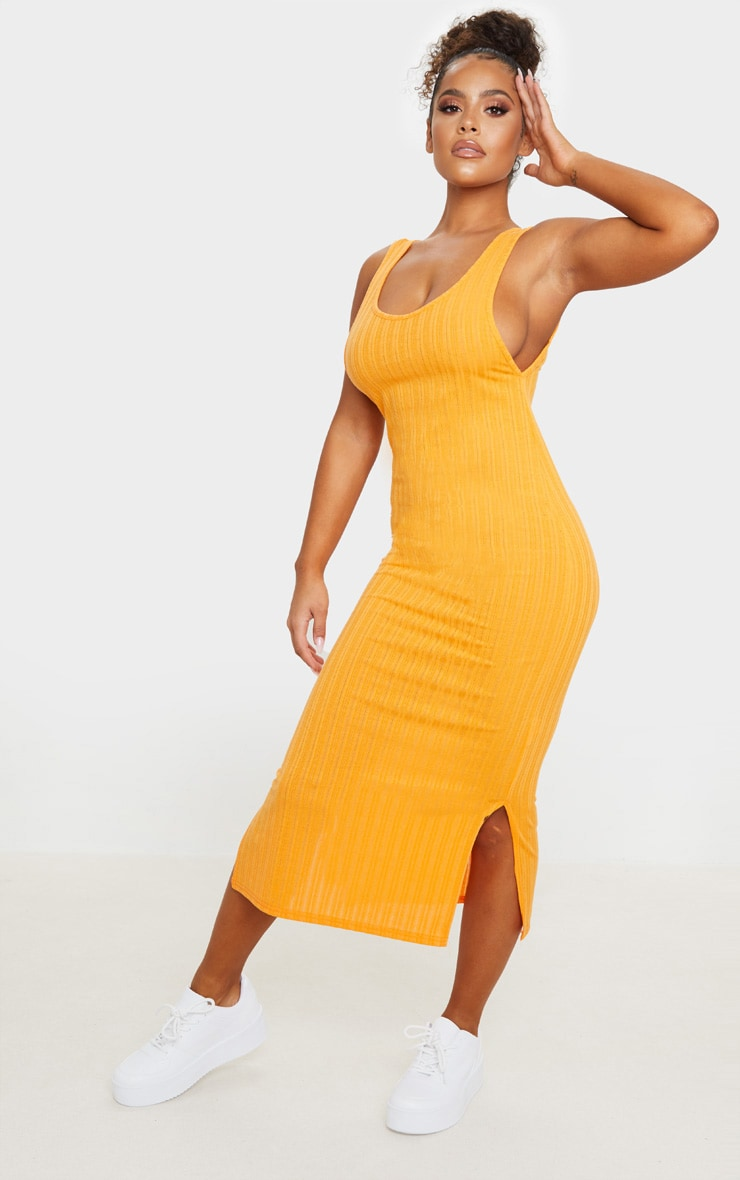 Orange Knitted Rib Scoop Detail Split Midi Dress 1