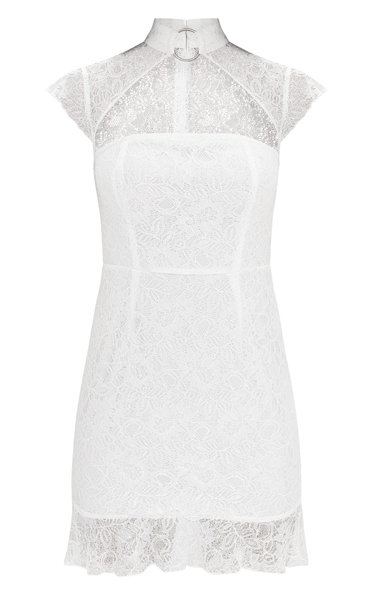 White Lace Ring Detail Frill Hem Bodycon Dress  3