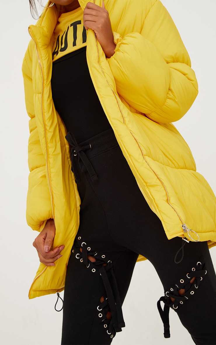 Yellow Ring Pull Longline Puffer Jacket 5