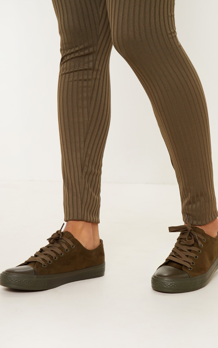 Khaki Faux Suede Lace Up Sneakers 2