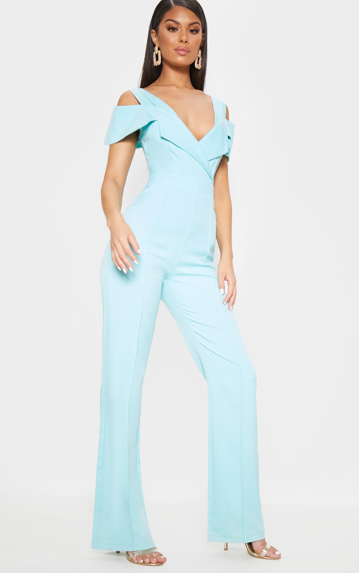 Pastel Blue Lapel Detail Wide Leg Jumpsuit 4