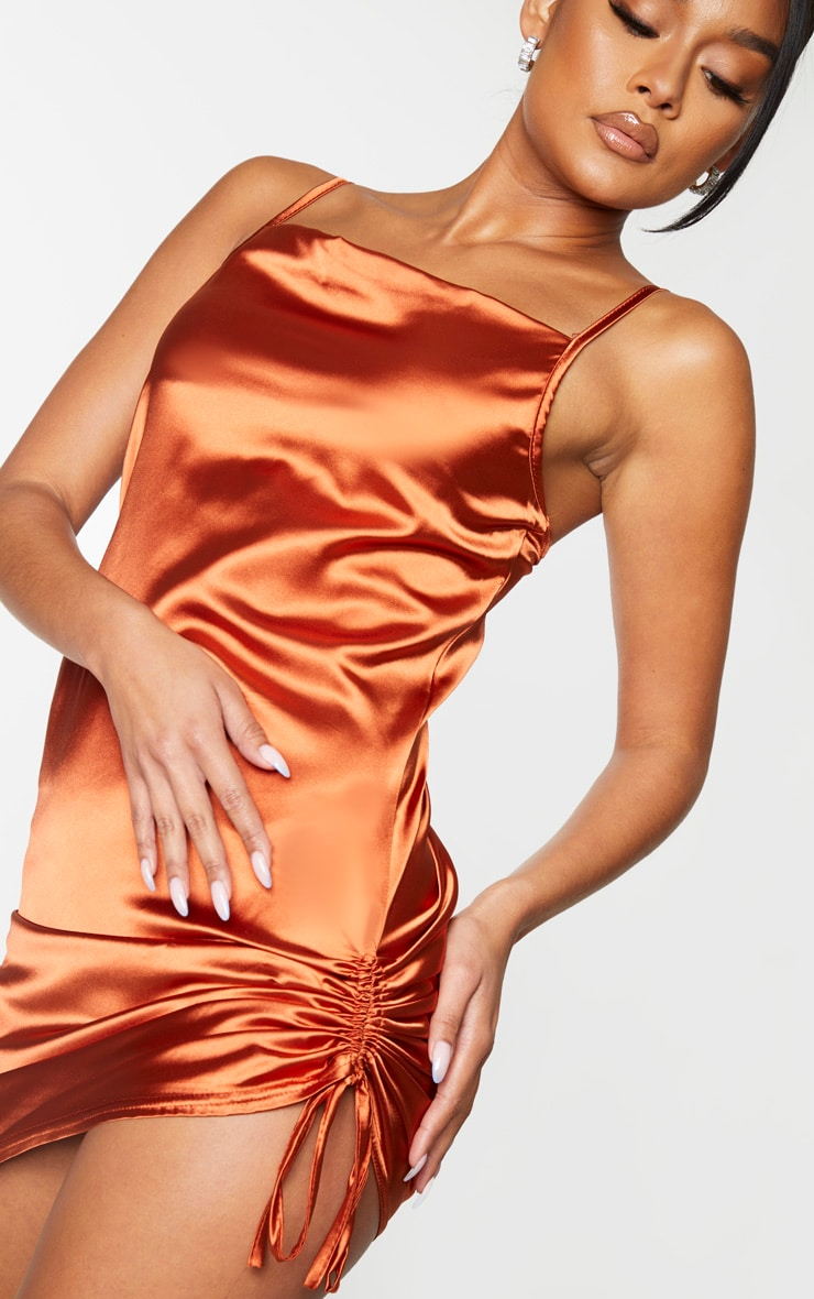 Rust Satin Strappy Cowl Neck Ruched Bodycon Dress 4