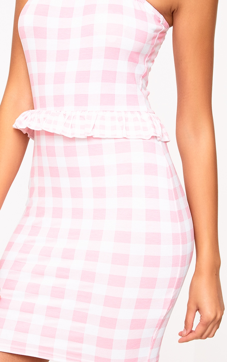 Pink Contrast Gingham Frill Bandeau Bodycon Dress 5