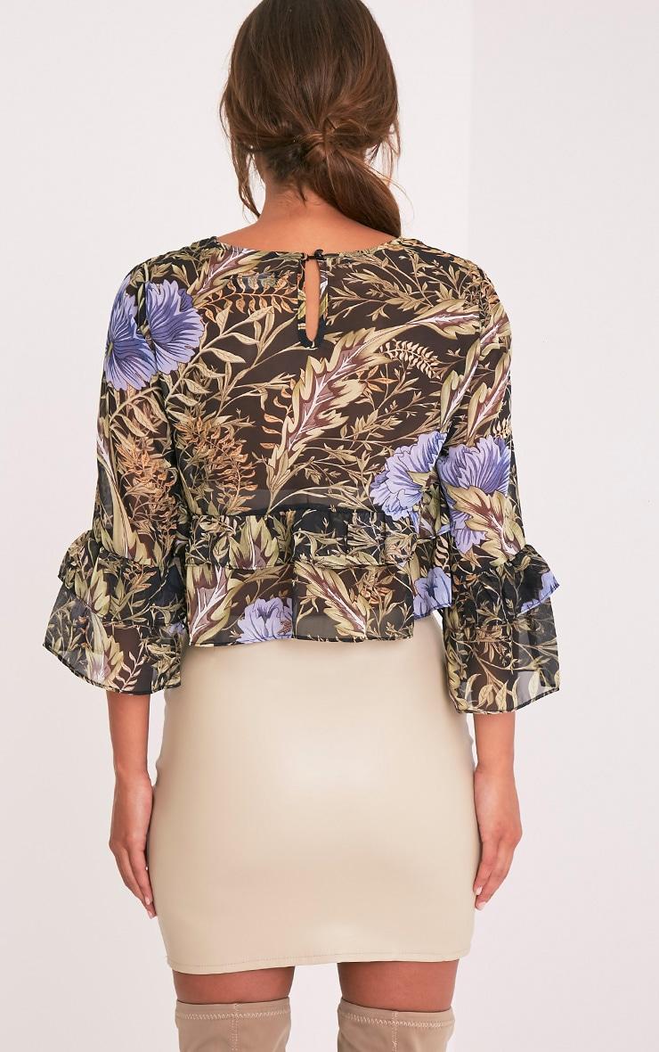 Leyda Black Floral Print Ruffle Blouse 2