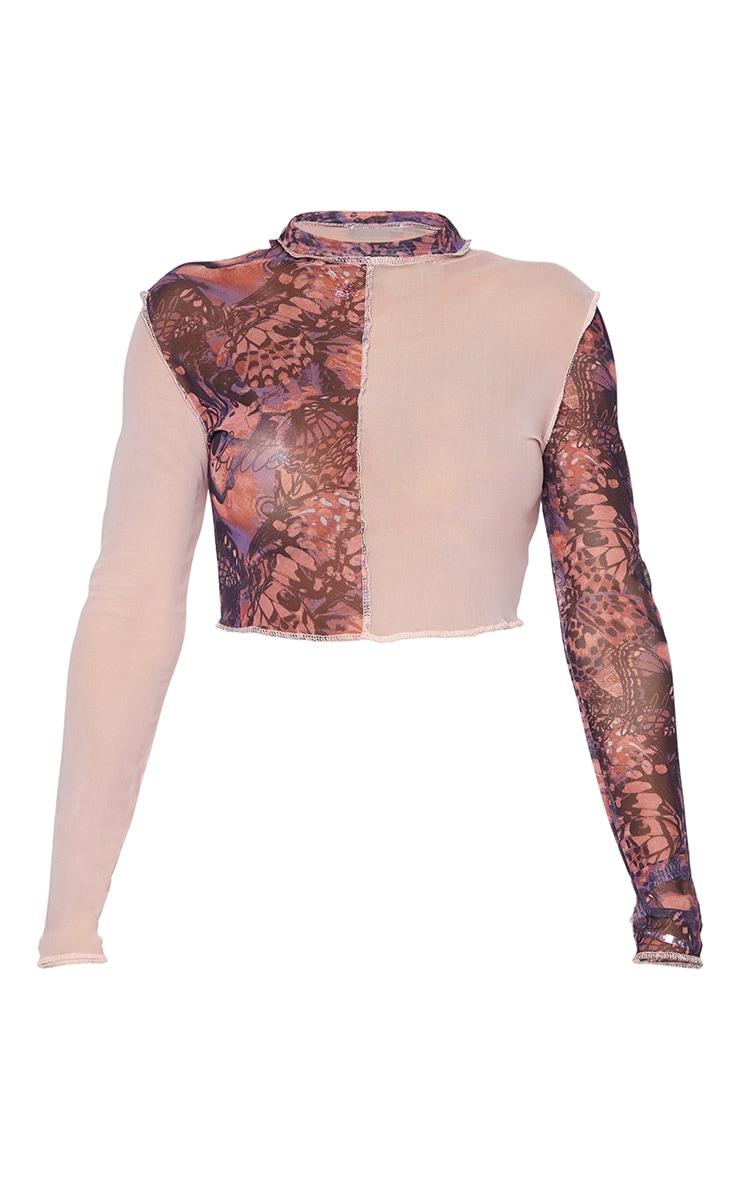 Shape Pink Butterfly Print Sheer Mesh Overlock Seam Crop Top 5