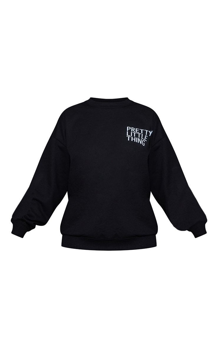 PRETTYLITTLETHING Black Printed Oversized Sweater 5