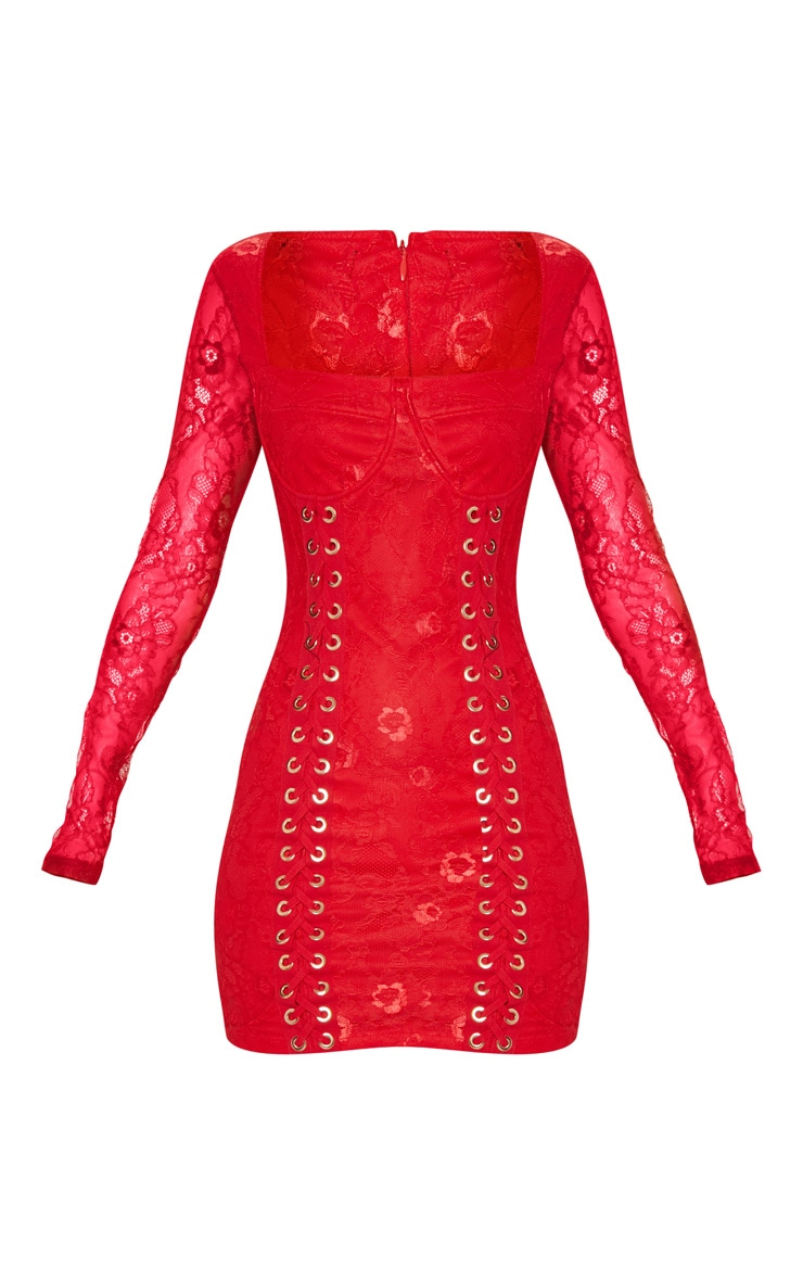 Red Lace Square Neck Eyelet Detail Bodycon Dress 3