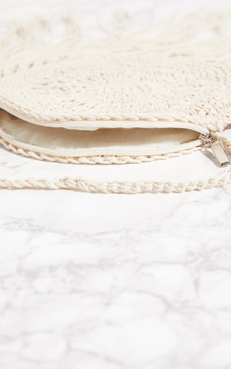 White Crochet Round Cross Body Bag 4