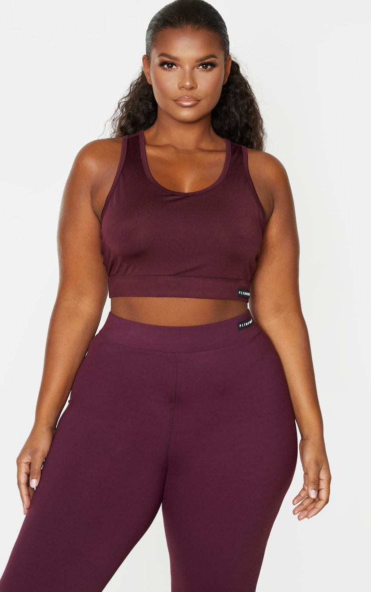 PRETTYLITTLETHING Plus Plum Racer Back Sports Bra 1