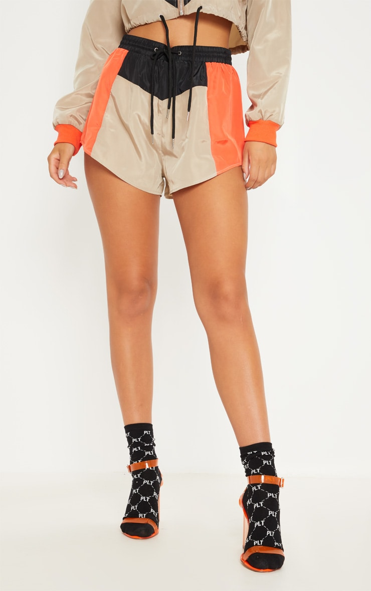 Stone Colour Block Shell Suit Short 2
