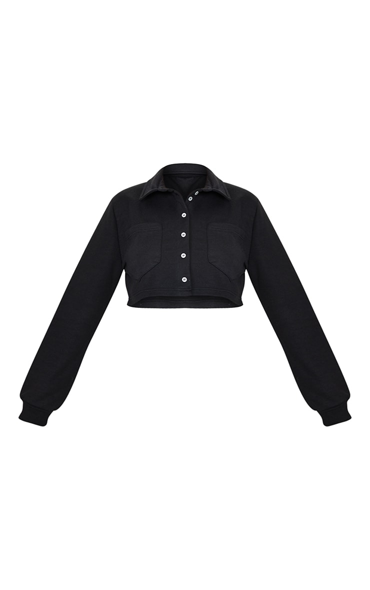 PRETTYLITTLETHING Black Button Front Crop Polo Shirt 5