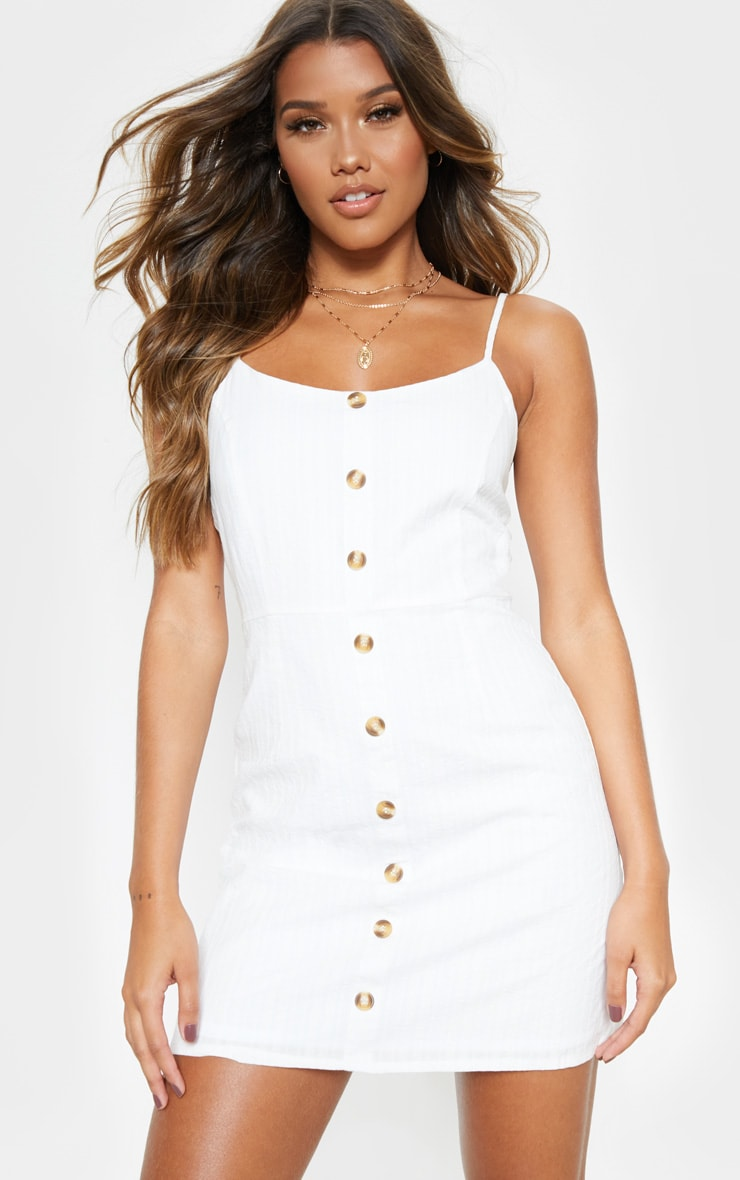 White Textured Wooden Button Tea Dress 1