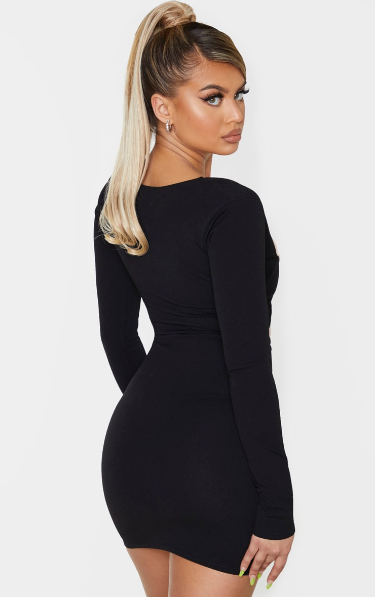 Black Long Sleeve Cut Out Bust Detail Bodycon Dress 2