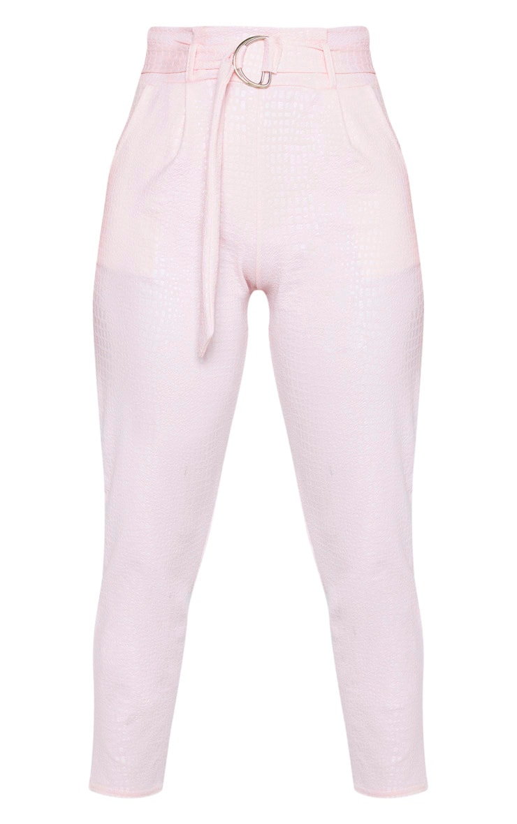 Light Pink Croc Print D Ring Belted Skinny Trousers 3