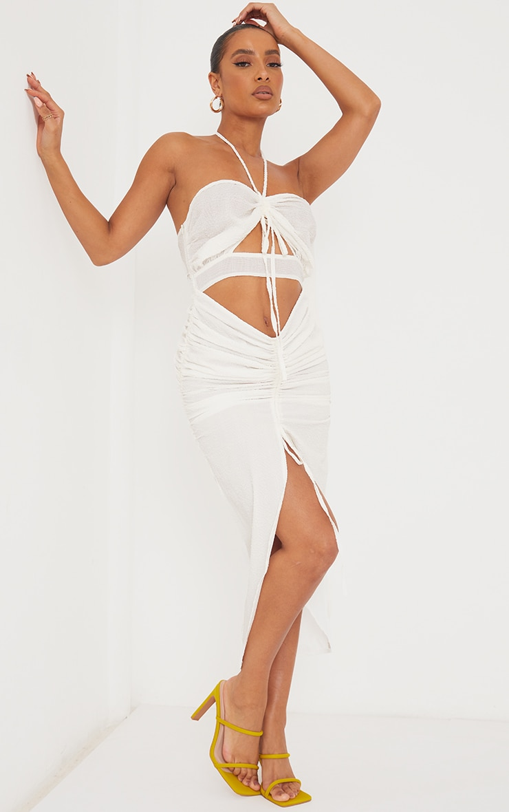 White Textured Bandeau Cut Out Ruched Midi Dress 1