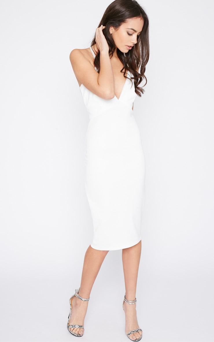 Britt White Cross Back Plunge Midi Dress 4
