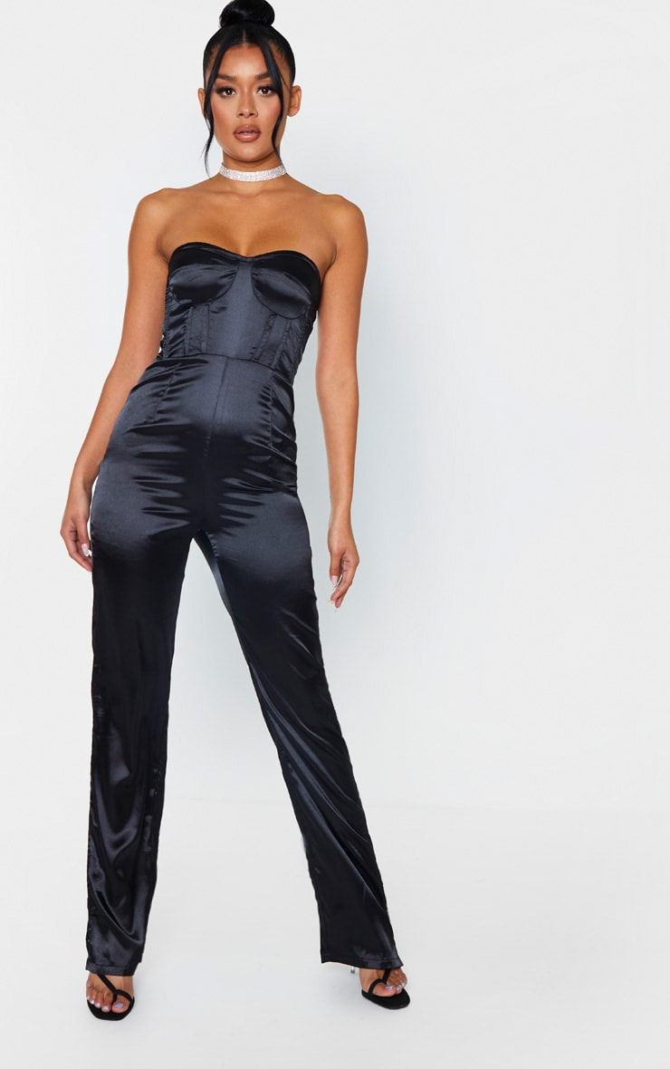 Black Satin Corset Bandeau Jumpsuit 1