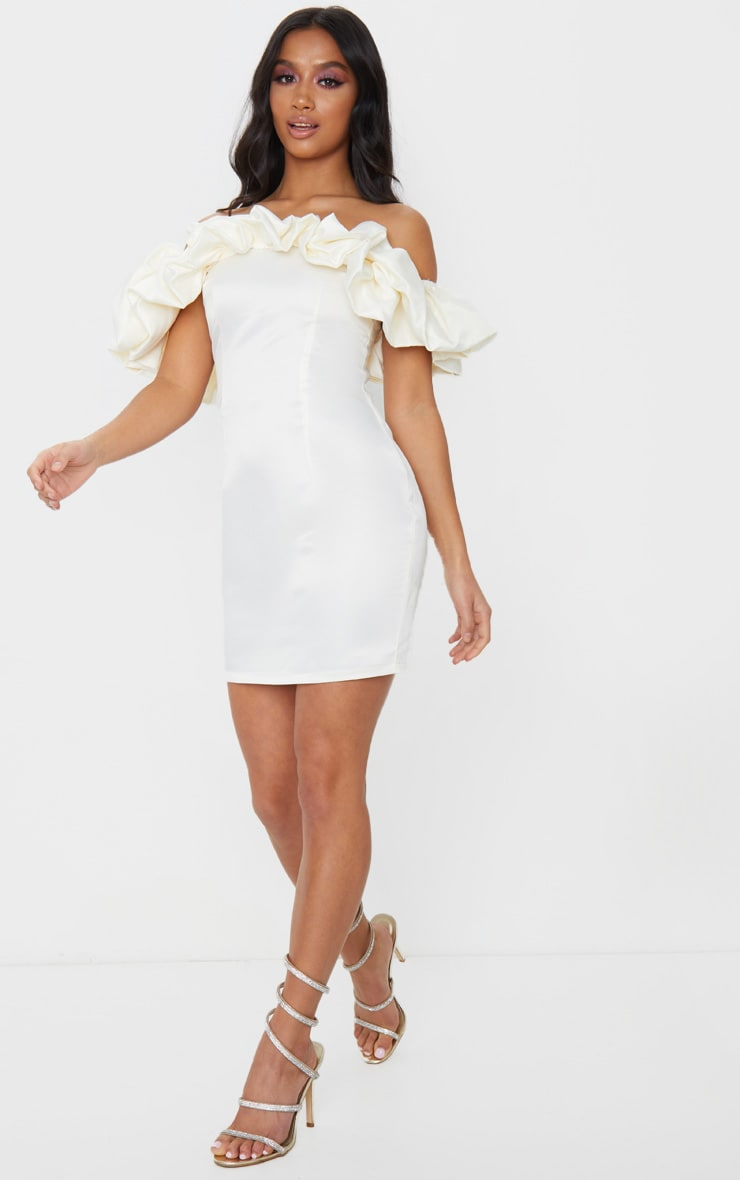Petite Cream Ruched Bardot Dress 3
