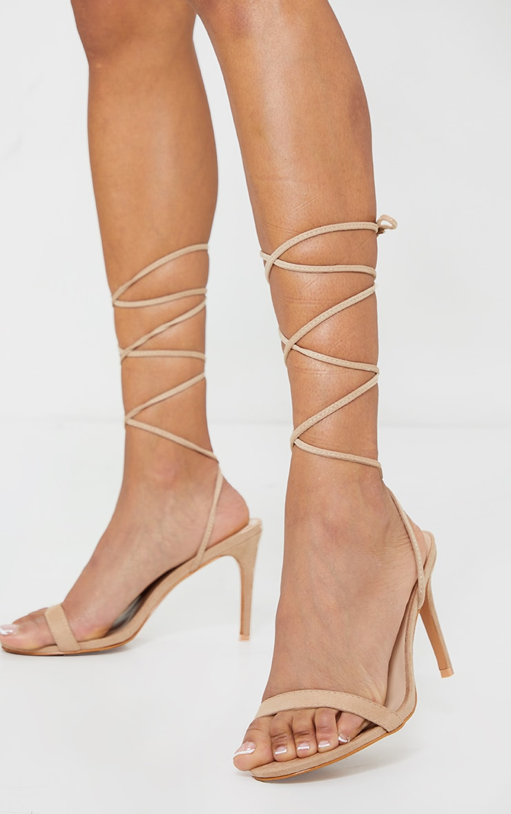 Sand Wide Fit Barely There Ankle Tie Strappy Sandals 1
