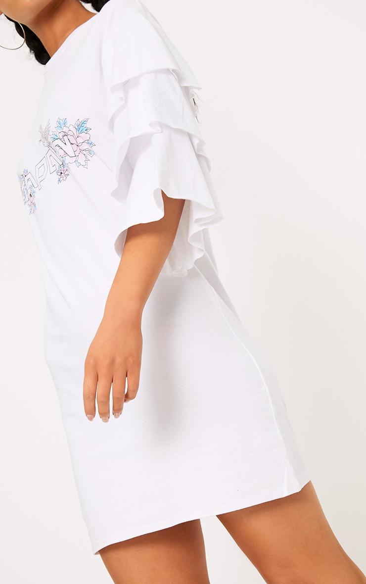 White Japan Frill Sleeve T Shirt Dress Dresses