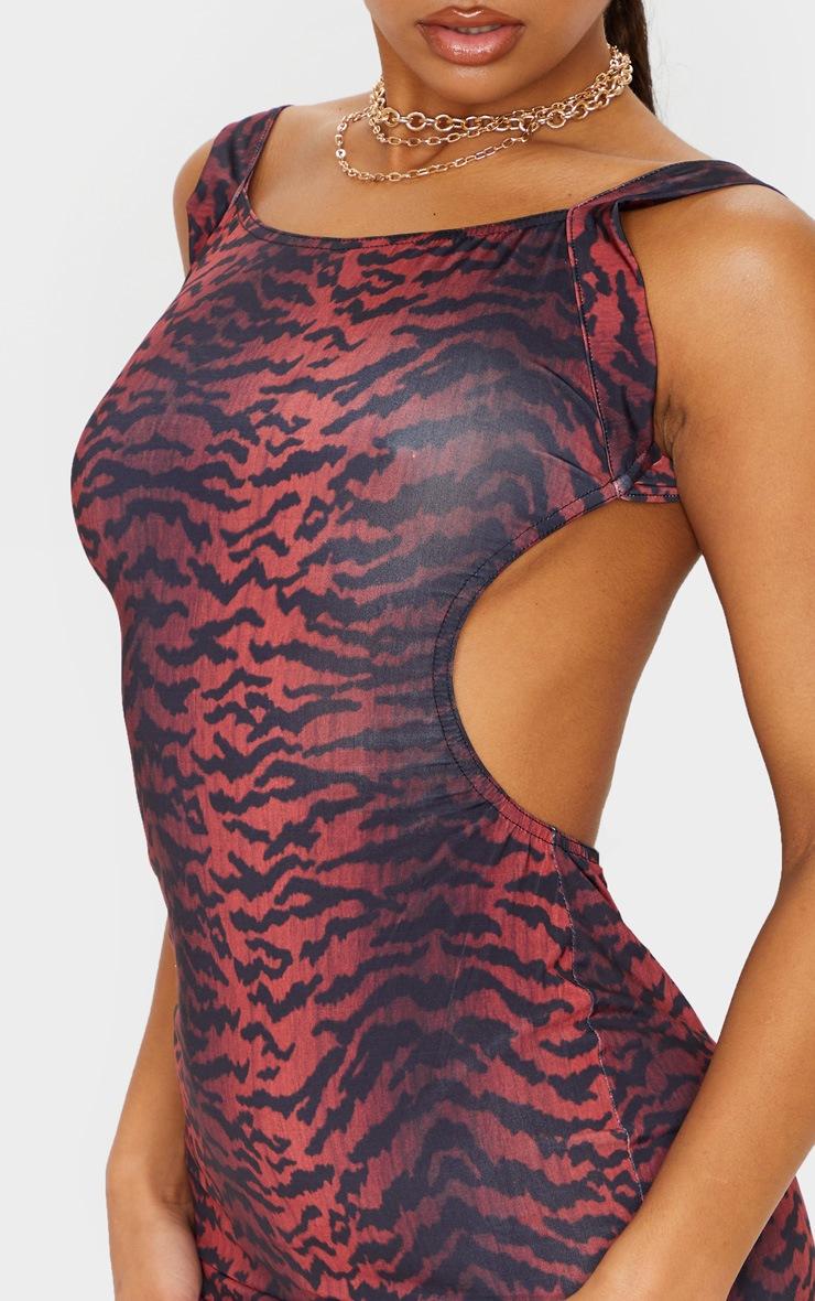 Burgundy Slinky Tiger Print Open Back Bodycon Dress 5