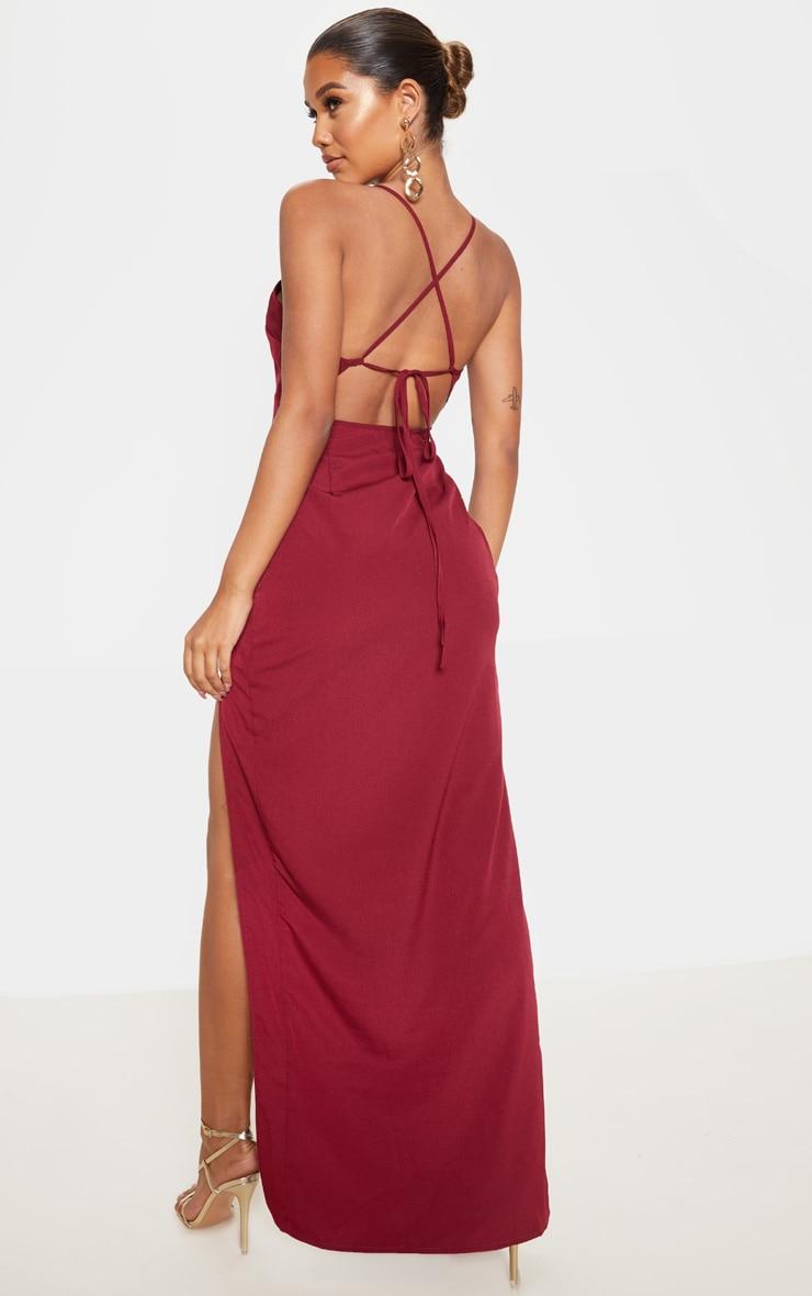 Burgundy Strappy Cross Back Maxi Dress 1