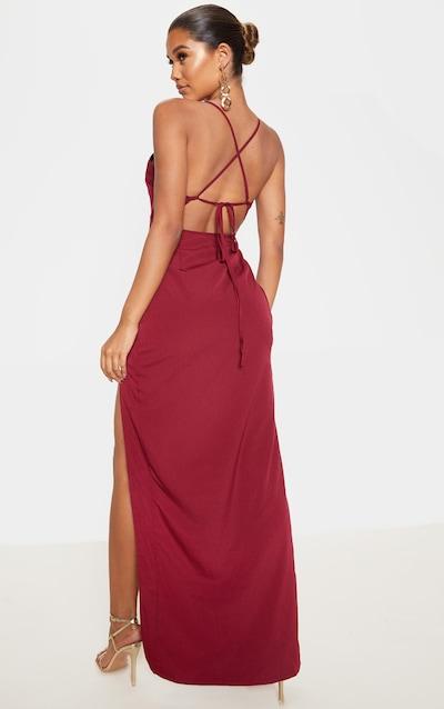 Burgundy Strappy Cross Back Maxi Dress