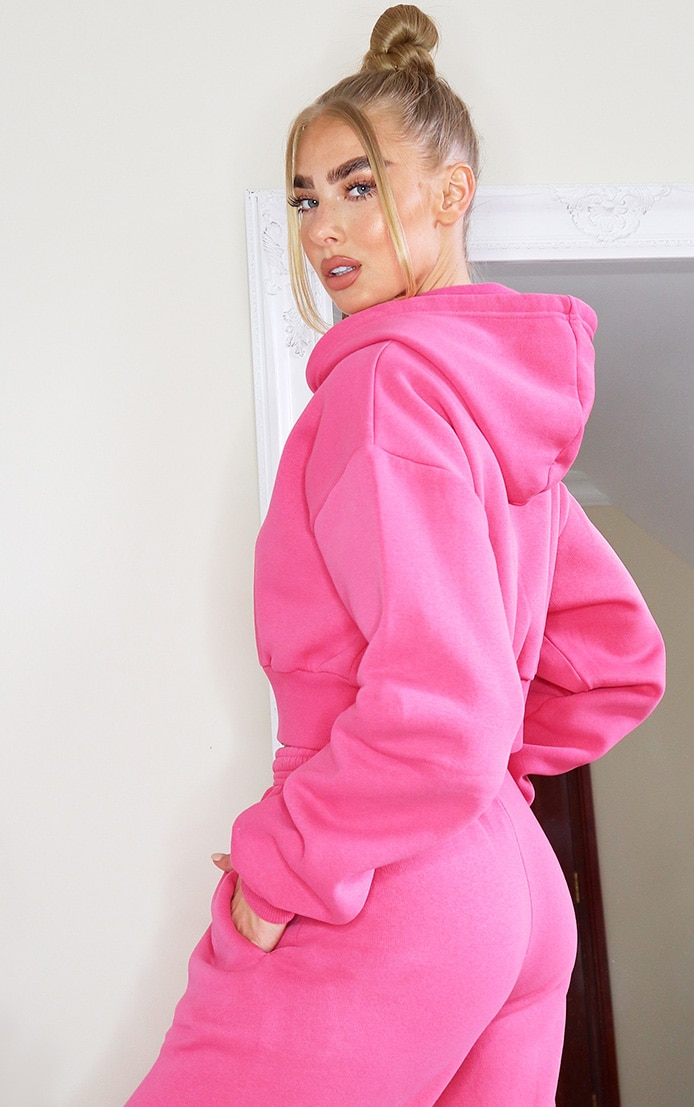Hot Pink Thick Zip Up Drawstring Cropped Hoodie 2