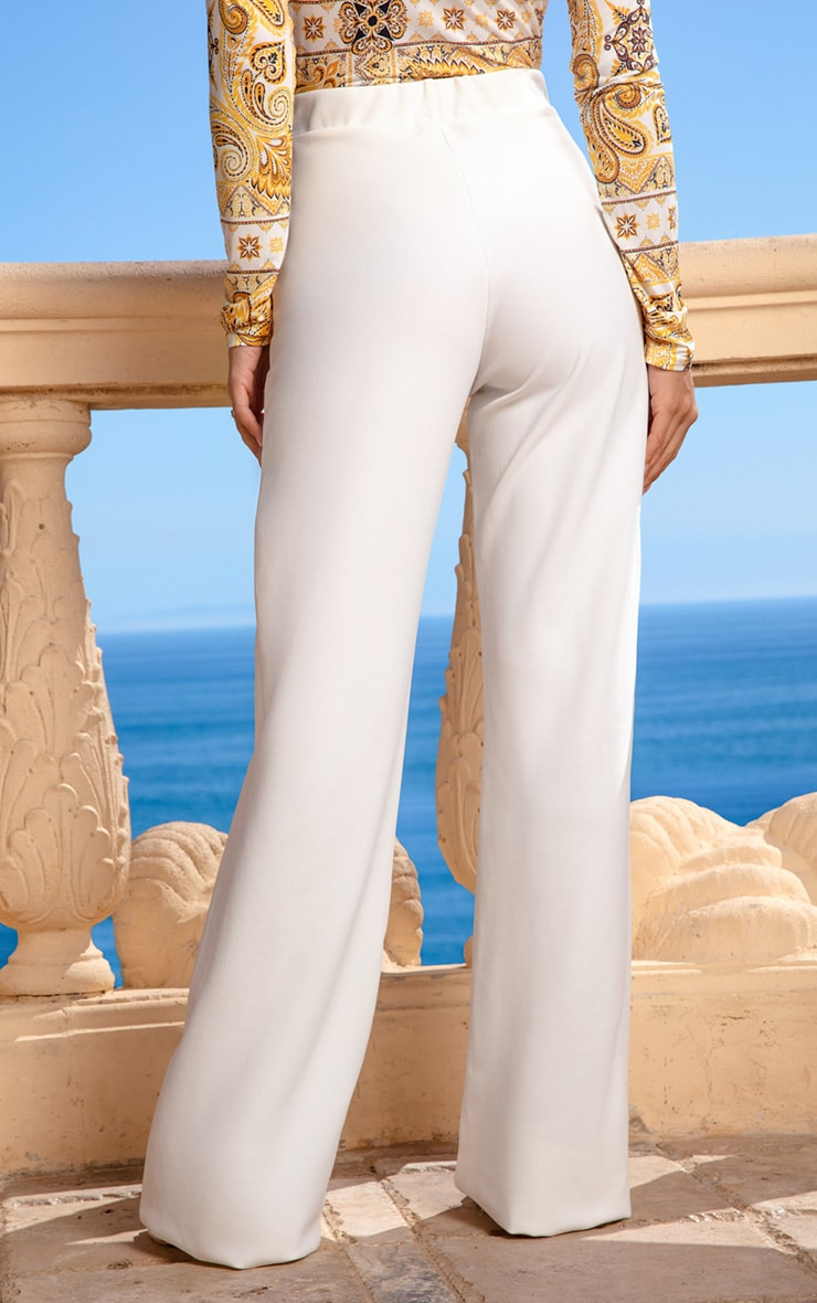 Cream Wide Leg Pants 4
