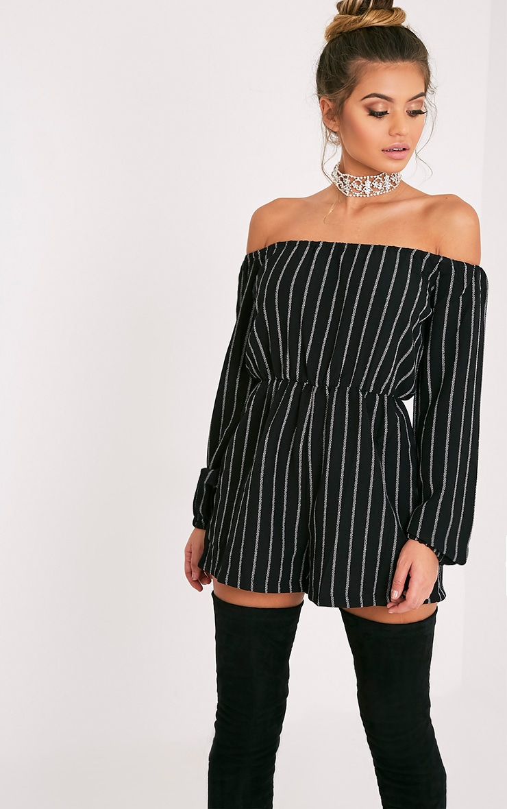 Kennie Monochrome Striped Bardot Romper 1