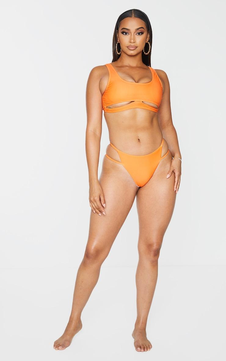 Orange Scoop Neck Cut Out Bikini Top 3