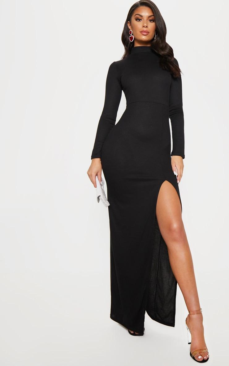 Black Ribbed Long Sleeve Maxi Dress 1