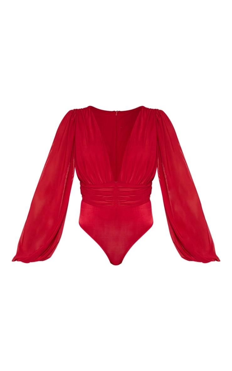Scarlet Mesh Ruched Waistband Bodysuit 3