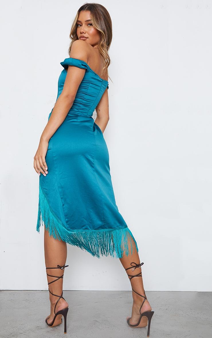 Emerald Green Satin Bardot Tassel Hem Draped Midi Dress 2